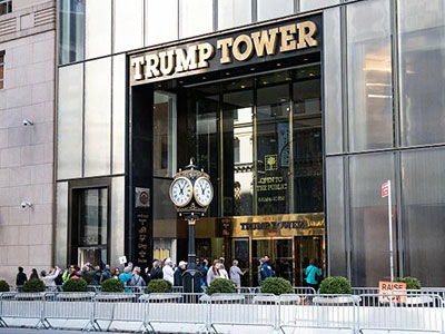 An image shows Trump Tower on Fifth Avenue in New York City. Ilyas Khrapunov has been accused of laundering money through Trump Towers in SoHo. MICHAEL BROCHSTEIN/SOPA IMAGES/LIGHTROCKET VIA GETTY IMAGES